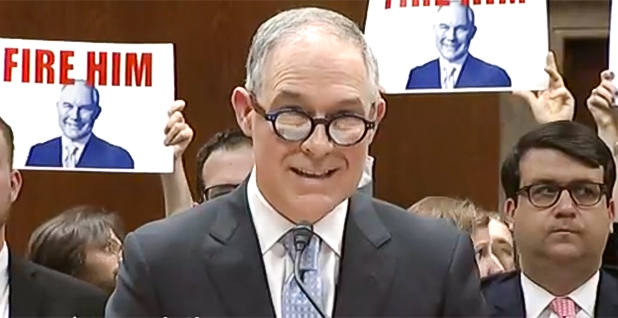 Scott Pruitt testifying. Photo credit: Senate Appropriations Committee