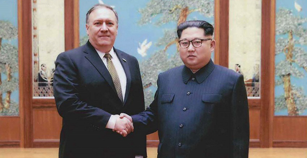 Secretary of State Mike Pompeo shaking hands with North Korean leader Kim Jong Un. Photo credit: White House/Twitter