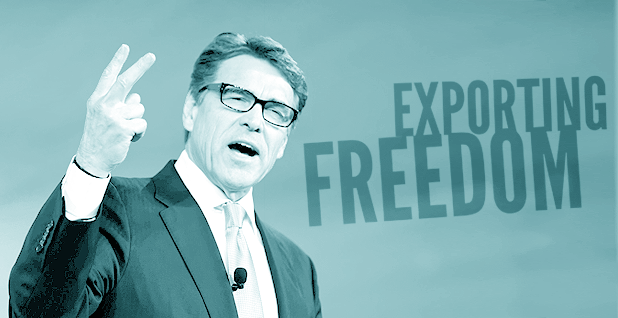Rick Perry photo illustration. Image credit: Claudine Hellmuth/E&E News (illustration); Michael Vadon/Flickr (Perry)