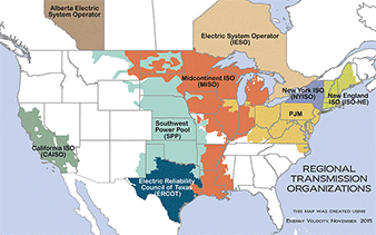 Map of regional transmission organizations in North America. Map credit: FERC