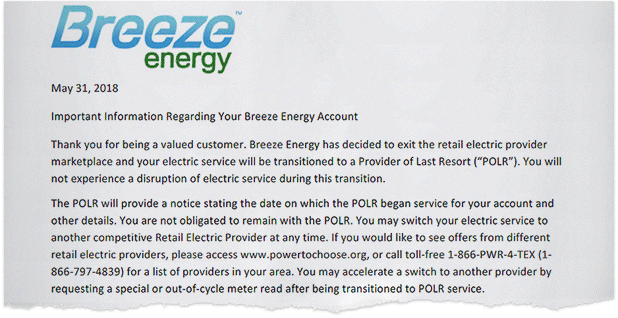 Breeze Energy letter. Photo credit: Breeze Energy