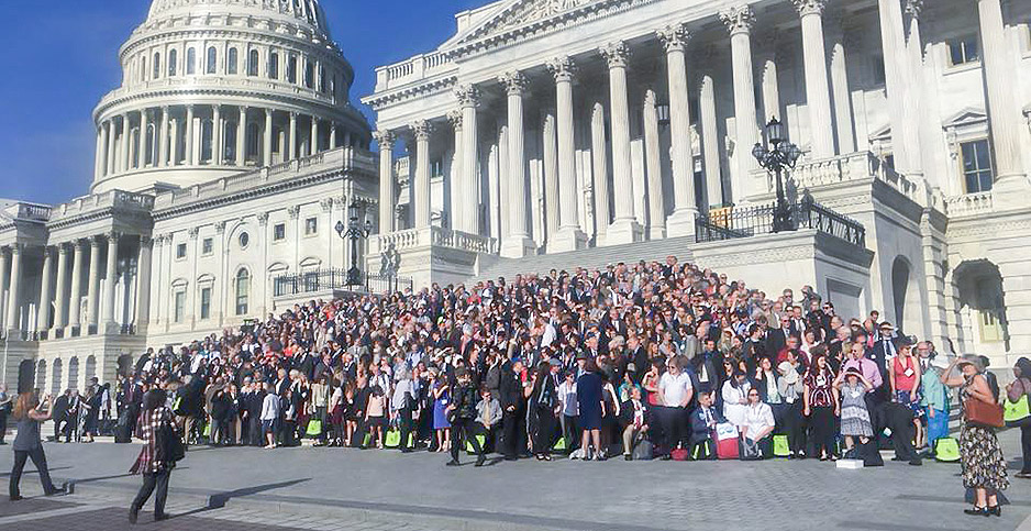 Citizens Climate Lobby are pictured on the steps of the U.S. Capitol. Photo credit: Citizens Climate Lobby.