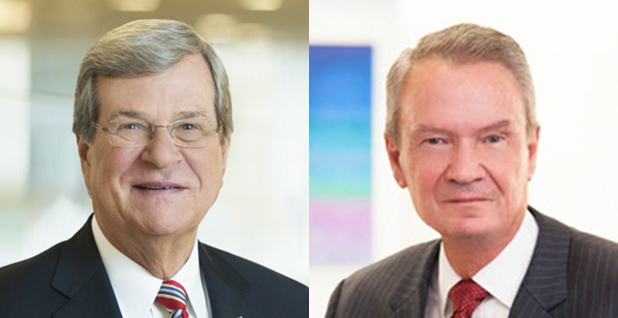 Former Sens. Trent Lott (R-Miss.) and John Breaux (D-La.). Photo credit: Squire Patton Boggs