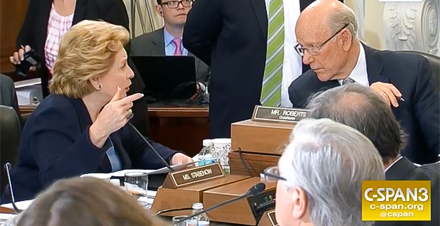 Senate Agriculture Chairman Pat Roberts (R-Kansas) and ranking member Debbie Stabenow (D-Mich.). Photo credit: C-SPAN