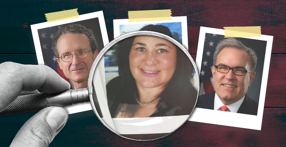 Photo illustration of EPA officials Bill Wehrum, Nancy Beck and Andrew Wheeler. Photo credit: Claudine Hellmuth/E&E News (illustration); coyot/Pixabay(magnifying glass);Lukasz_Bachur/Freepik (background); EPA (Wehrum and Wheeler); LinkedIn (Beck)