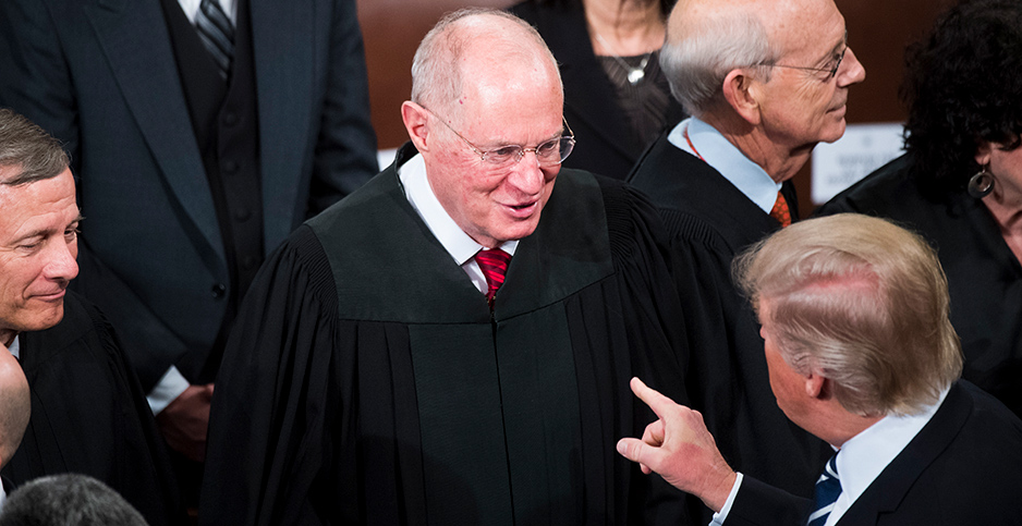 President Trump greets Supreme Court Justice Anthony Kennedy after addressing a joint session of Congress in the Capitol's House Chamber. Photo credit: Tom Williams/CQ Roll Call/AP Images