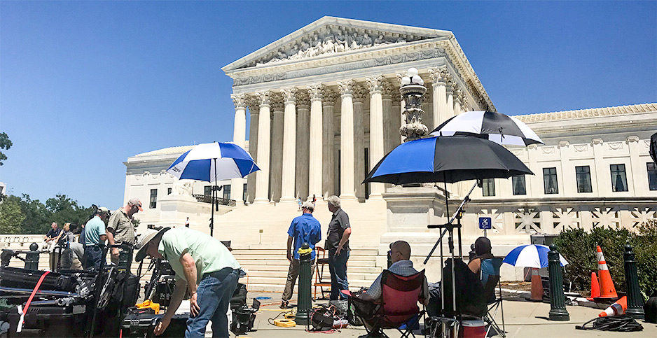 Journalists outside the Supreme Court building. Photo credit: Ellen M. Gilmer/E&E News