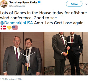 Zinke tweet: Lots of Danes in the House today for offshore wind conference. Good to see @DenmarkinUSA Amb. Lars Gert Lose again. Photo credit: @SecretaryZinke/Twitter