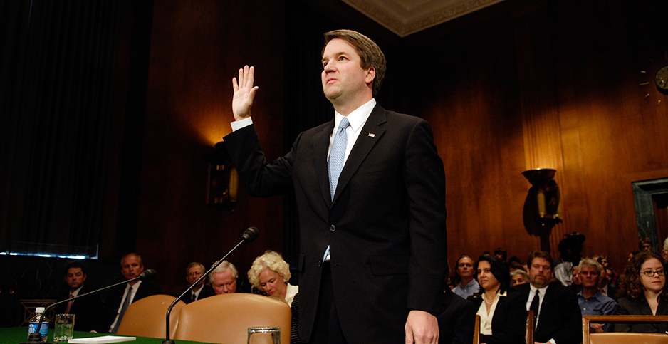 Brett Kavanaugh swearing in. Photo credit: CQ Roll Call/Associated Press