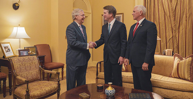 Judge Brett Kavanaugh, Sen. Mitch McConnell (R-Ky.) and Vice President Mike Pence. Photo credit: C-SPAN