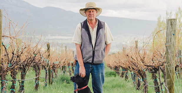 Brent Helleckson in a vineyard with dog. Photo credit: Morgan Rachel Levy