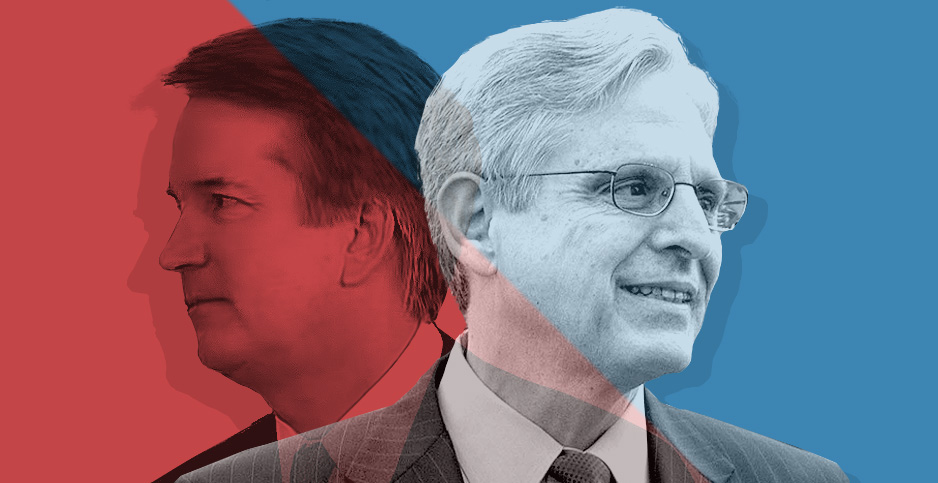Photo illustration of Brett Kavanaugh and Merrick Garland. Image credit: Claudine Hellmuth/E&E News(illustration); White House/YouTube(Kavanaugh); Senate Democrats/Flickr(Garland)
