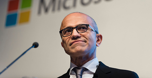 Microsoft CEO Satya Nadella speaking during a presentation in Berlin, in 2015. Photo credit: Gregor Fischer/dpa/Associated Press