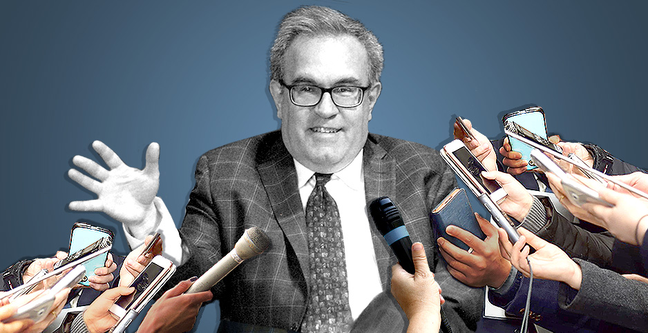 Illustration of Andrew Wheeler with reporters hands and microphones. Photo credit: Claudine Hellmuth/E&E News(illustration);Patrick G. Ryan(Wheeler);State Department/Flickr, Mr. Tin DC/Flickr and Pixabay (hands with phones and microphones)