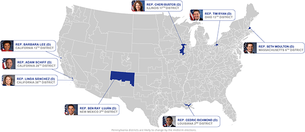 Map of Democratic Leaders. Image credits: Claudine Hellmuth/E&E News(graphic);House of Representatives/Wikipedia(photos)