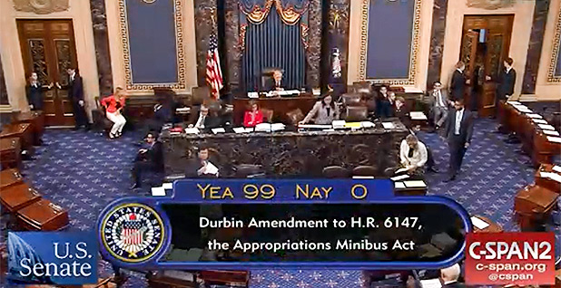 Senate amendment vote screenshot. Photo credit: C-SPAN