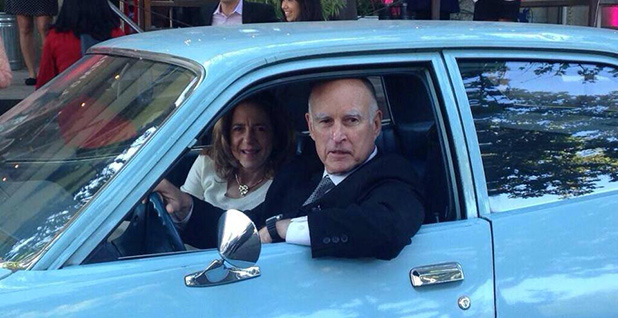 California Gov. Jerry Brown (D) is pictured in an old Plymouth. Photo credit: Jerry Brown/Facebook