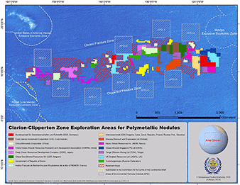 Clarion-Clipperton Zone mineral exploration lease map. Map credit:  International Seabed Authority.