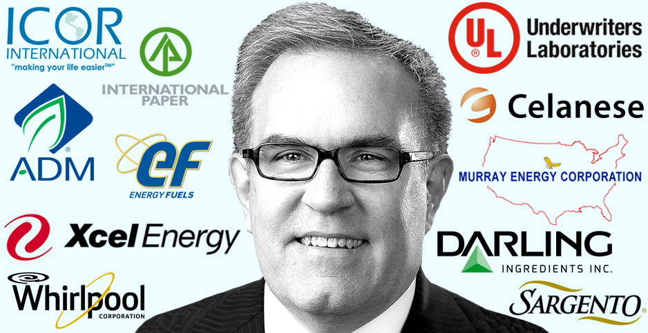 Illustration of Andrew Wheeler with corporate logos. Image credits: Claudine Hellmuth/E&E News(illustration); EPA/Wikipedia(Wheeler); Brands of the World and Wikipedia(logos)