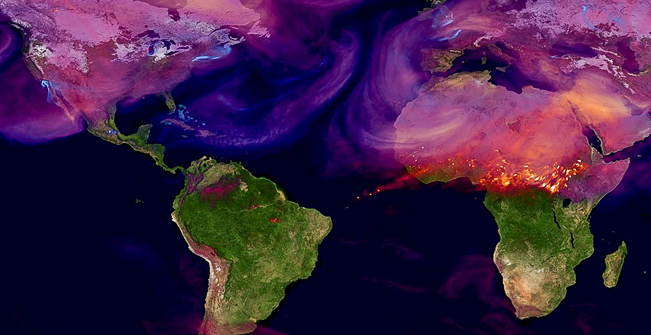 This NASA illustration shows carbon dioxide being emitted from megacities and wildfires in Africa. Photo credit: Global Modeling and Assimilation Office, NASA's Goddard Space Flight Center