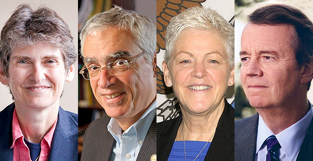 Former EPA air chiefs Janet McCabe, Bob Perciasepe, Gina McCarthy and David Hawkins. Photo credit: Environmental Law and Policy Center(McCabe);EPA/Wikipedia (Perciasepe);U.S. Embassy Canada/Flickr (McCarthy), Yale Law School(Hawkins)
