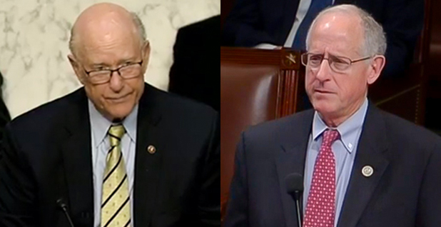 Senate Agriculture Chairman Pat Roberts (R-Kan.) and House Agriculture Chairman Mike Conaway (R-Texas). Photo credit: Agriculture, Nutrition and Forestry Committee (Roberts); C-SPAN (Conaway)