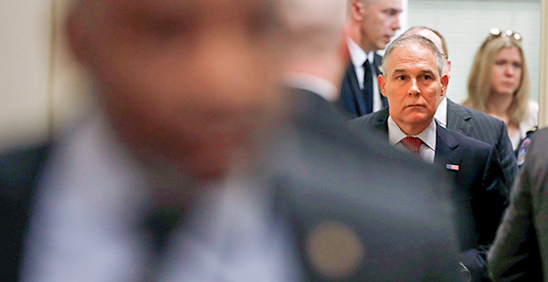 Former EPA Administrator Scott Pruitt with his security detail. Photo credit: Aaron P. Bernstein/Reuters/Newscom