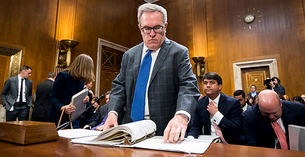 Andrew Wheeler, acting administrator at the Environmental Protection Agency, prepares to testify during the Senate Committee on Environment and Public Works hearing. Photo credit: Bill Clark/CQ Roll Call/Newscom