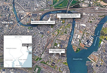 Map of New Jersey, Newark Bay and Diamond Alkali Superfund, Passaic River. Map credit: Claudine Hellmuth/E&E News (graphic); map data: ©2018 Google