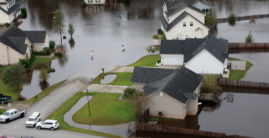 Flooded homes are seen yesterday near Raleigh, N.C. Photo credit: Jaime Rodriguez Sr./USCBP / Polaris/Newscom