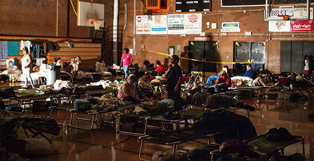 People in a shelter in Teachey, N.C. Photo credit: Al Drago/UPI/Newscom