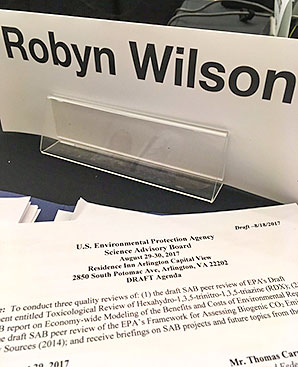 Robyn Wilson nameplate and Science Advisory Board agenda. Photo credit: @RiskWilson/Twitter