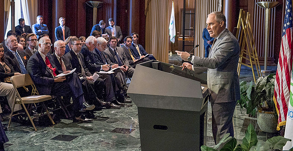 Scott Pruitt at a podium at EPA. Photo credit: EPA