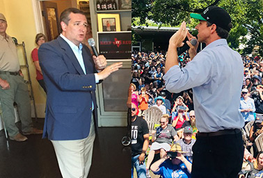 Sen. Ted Cruz (R-Texas) and Rep. Beto O'Rourke (D-Texas). Photo credit: @tedcruz; @BetoORourke