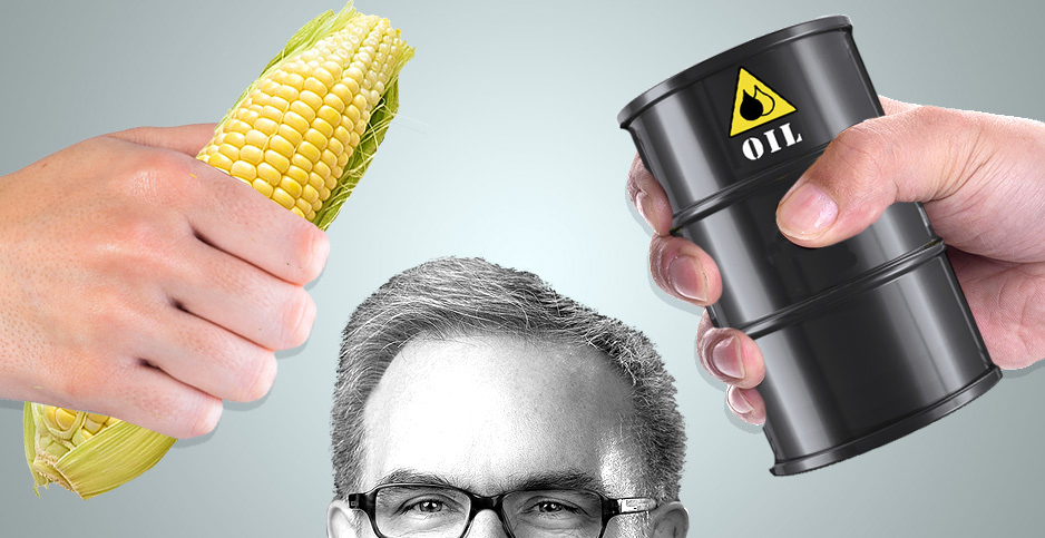 Andrew Wheeler photo illustration with corn and oil. Photo credit: Claudine Hellmuth/E&E News(illustration); EPA/Wikipedia (Wheeler); Freepik(hands); Pixabay(corn); Kisspng(oil)