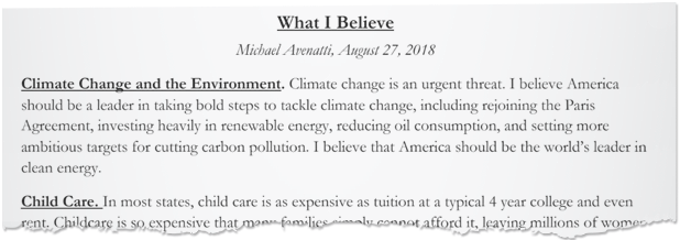 Screenshot of a portion of a list of important issues that Michael Avenatti released in August. Document credit: @MichaelAvenatti/Twitter