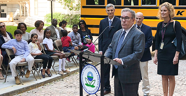 Acting EPA Administrator Andrew Wheeler speaking at a podium. Photo credit: Kevin Bogardus/E&E News