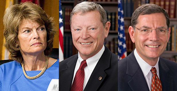 Lisa Murkowski, Jim Inhofe, John Barrasso. Photo credit: Murkowski/Energy and Natural Resources Committee/Facebook, Inhofe/Wikipedia, Barrasso/Wikipedia
