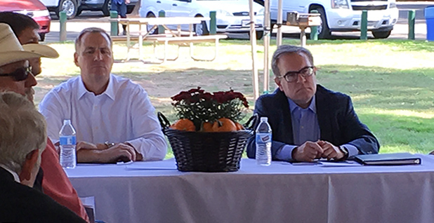 Acting EPA Administrator Andrew Wheeler (right) meets with Rep. Jeff Denham (R-Calif.) in Escalon, Calif., yesterday. Photo credit:Debra Kahn/E&E News