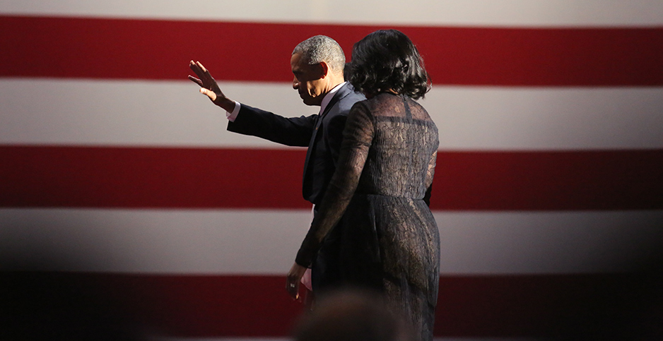 Former President Obama and first lady Michelle Obama leaving the stage after Obama's farewell address in January 2017. Photo credit: Emily Molli/NurPhoto/Sipa USA/Newscom