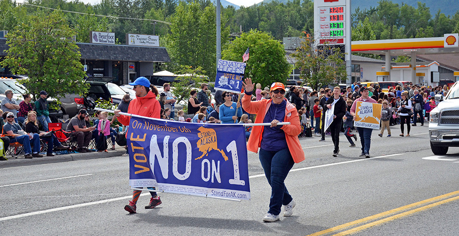 Activists with Stand for Alaska/Vote No on 1. Photo credit: Margaret Kriz Hobson/E&E News