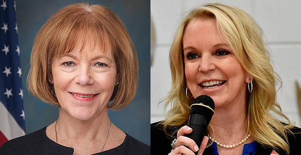 Sen. Tina Smith (DFL-Minn.) (left) and state Sen. Karin Housley (R). Photo credit: Rebecca Hammel/U.S. Senate(Smith);Pharexia/Wikipedia(Housely)