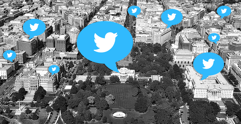 Illustration with aerial photo of DC and twitter logos floating above. Photo credits: Claudine Hellmuth/E&E News(illustration); Pixabay(photo);Freepik(twitter logo)