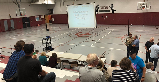 Roughly 60 residents attended a meeting in Union City, Mich., earlier this month to hear a discussion on wind energy. Photo credit: Benjamin Storrow/E&E News