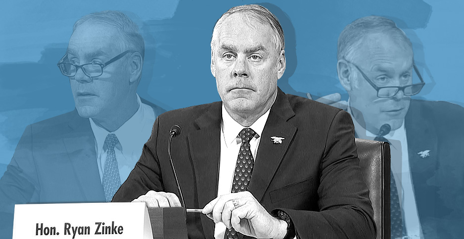 Photo illustration of Ryan Zinke. Image credits: Claudine Hellmuth/E&E News(illustration); C-SPAN(photos)