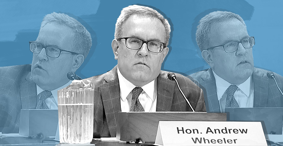 Photo illustration of Acting EPA Administrator Andrew Wheeler. Image credit:  Claudine Hellmuth/E&E News(illustration); C-SPAN(photos)