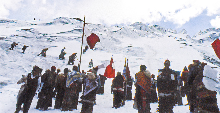 Andean villagers ascend a mountain glacier to perform cultural rituals in 1991. Photo credit: Inge Bolin