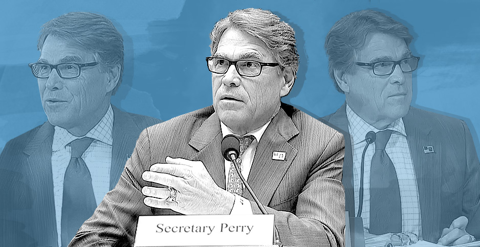 Photo illustration of Energy Secretary Rick Perry. Image credit: Claudine Hellmuth/E&E News(illustration); C-SPAN(photos)