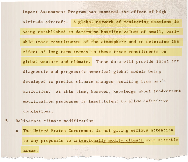 Federal government report on weather modification in the 1970s. Image credit: Court records filed by the plaintiffs in <em>Juliana v. United States</em>