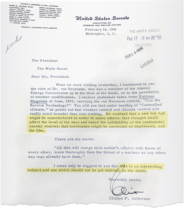 Letter from U.S. senator to JFK about climate change. Image credit: Court records filed by the plaintiffs in <em>Juliana v. United States</em>